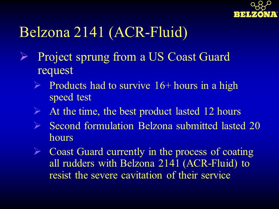 Belzona 2141 (ACR-Fluid) Project sprung from a US Coast Guard request
