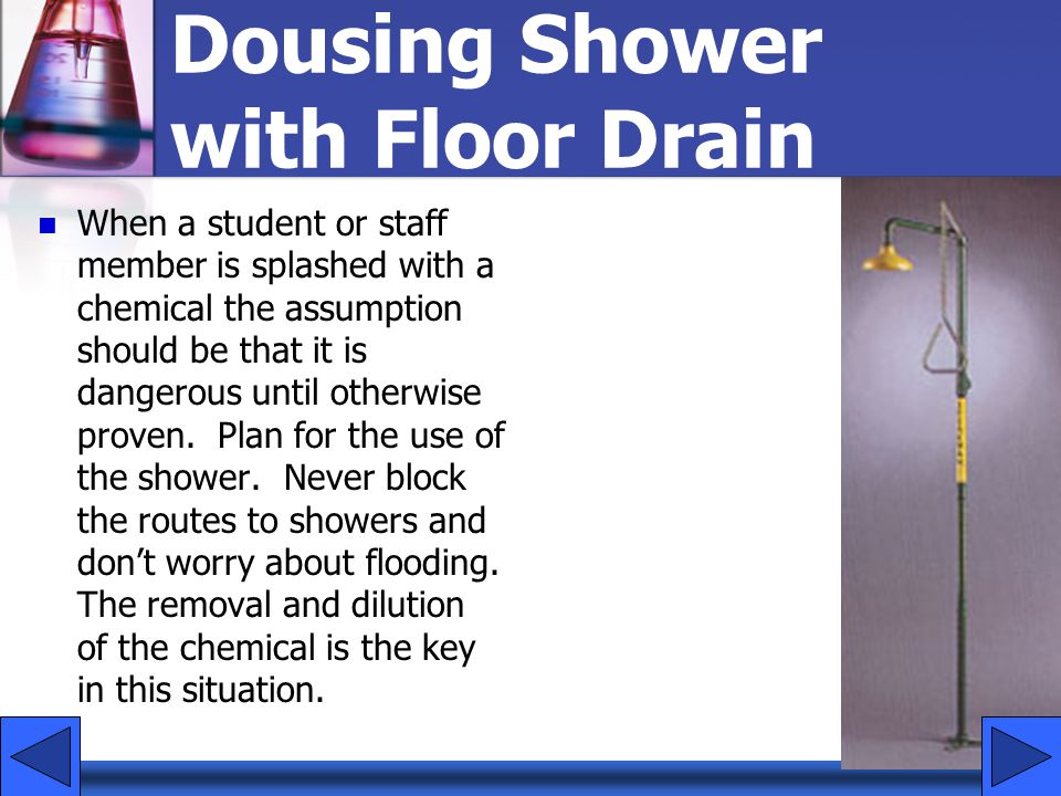 Dousing Shower with Floor Drain