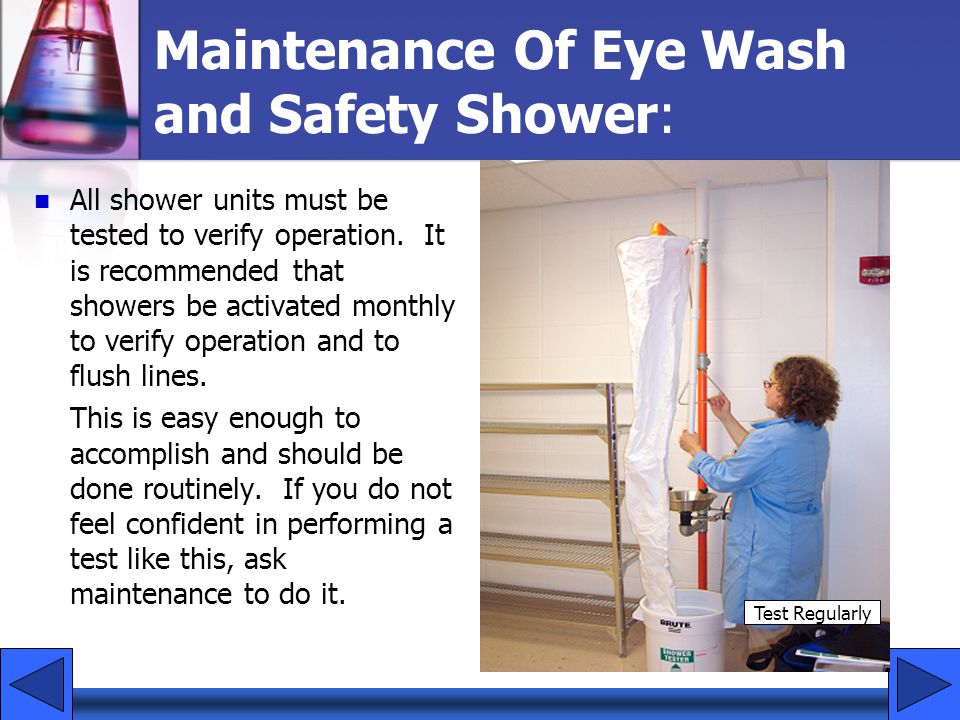 Maintenance Of Eye Wash and Safety Shower: