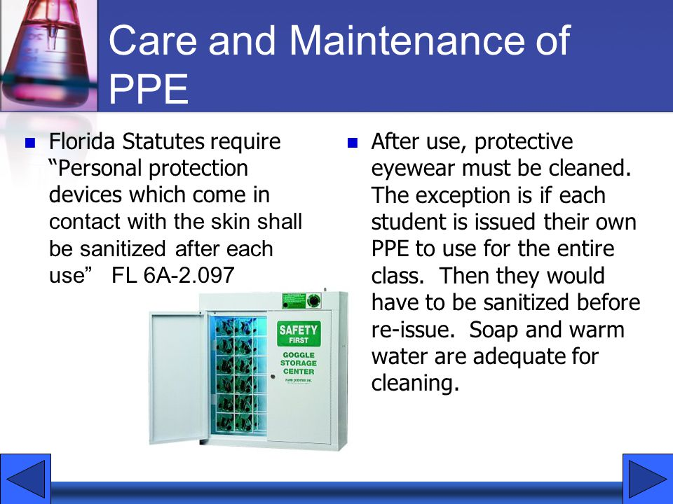 Care and Maintenance of PPE