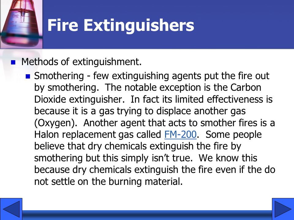 Fire Extinguishers Methods of extinguishment.