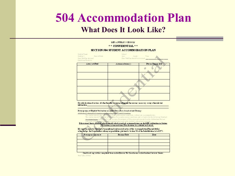 504 Accommodation Plan What Does It Look Like