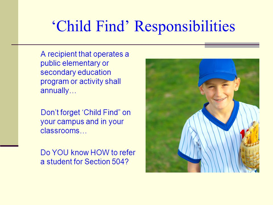 'Child Find' Responsibilities