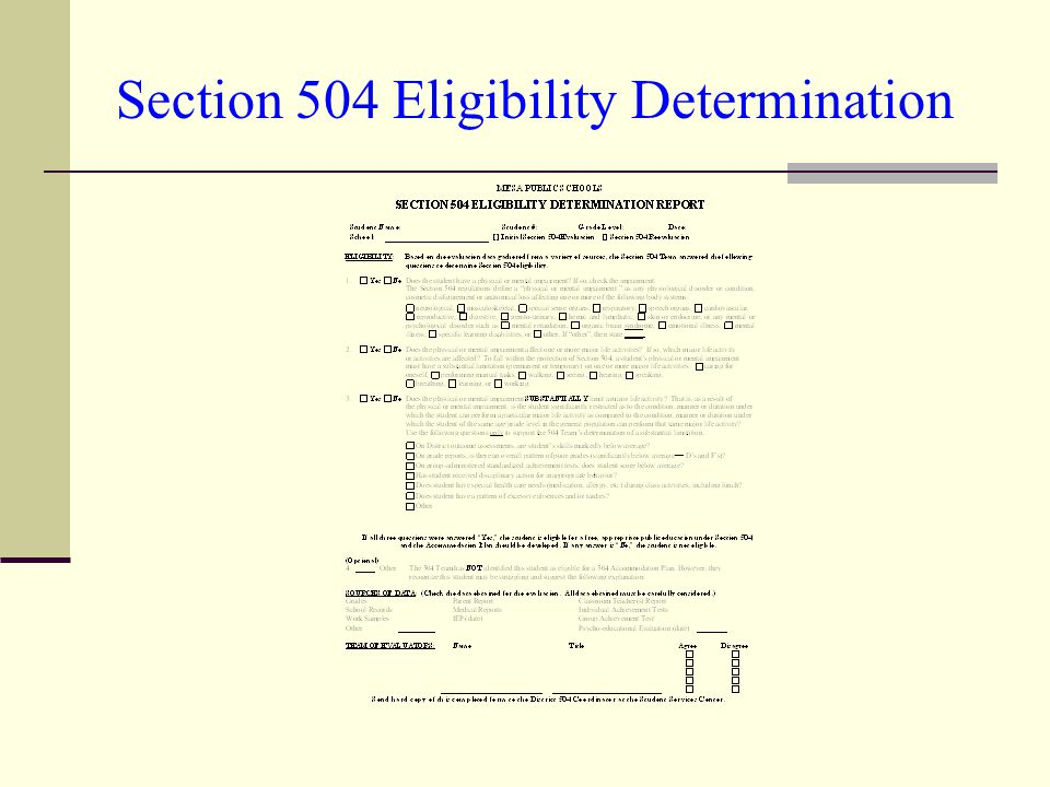 Section 504 Eligibility Determination