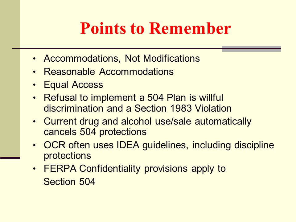 Points to Remember Accommodations, Not Modifications