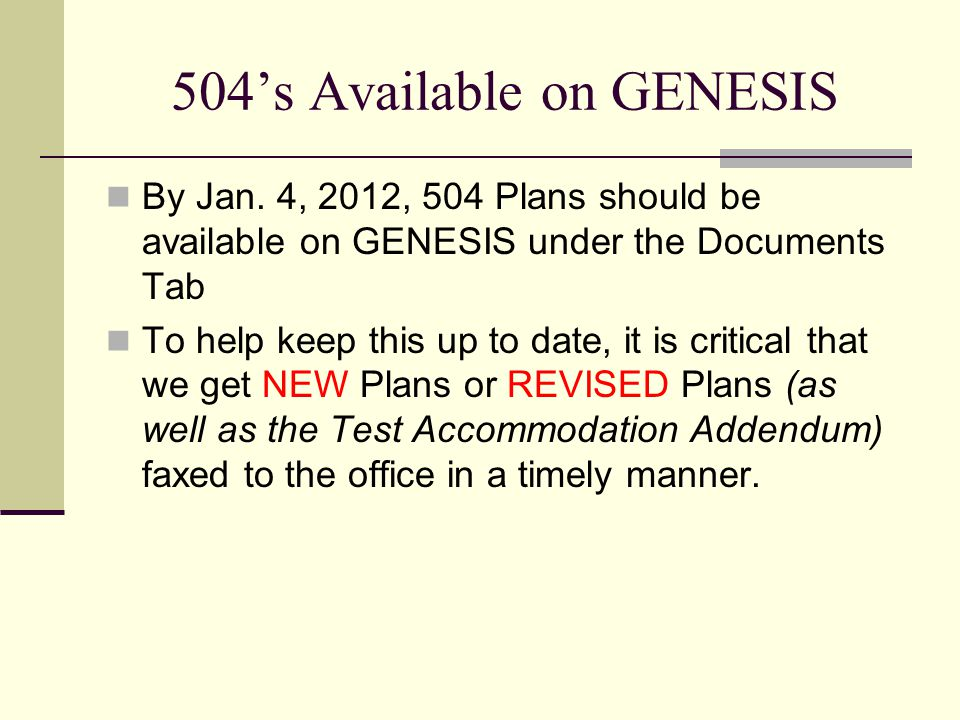 504's Available on GENESIS