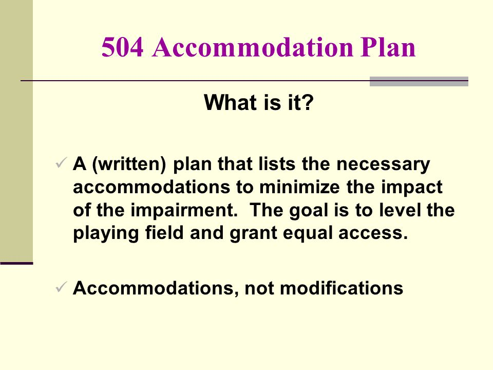504 Accommodation Plan What is it