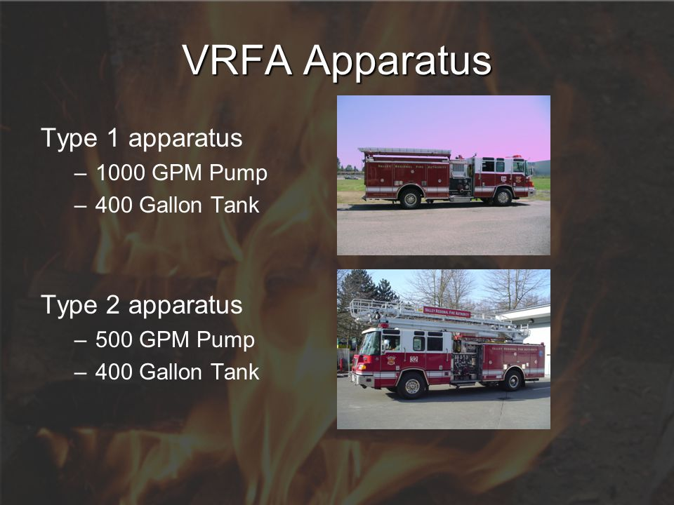 VRFA Apparatus Type 1 apparatus Type 2 apparatus 1000 GPM Pump