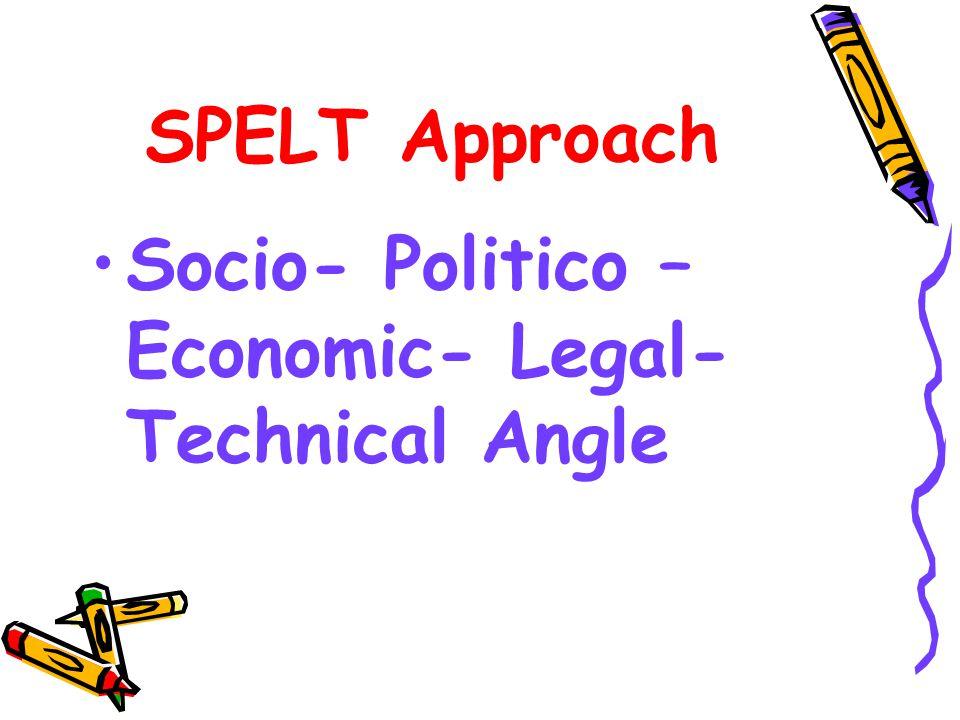 SPELT Approach Socio- Politico – Economic- Legal- Technical Angle