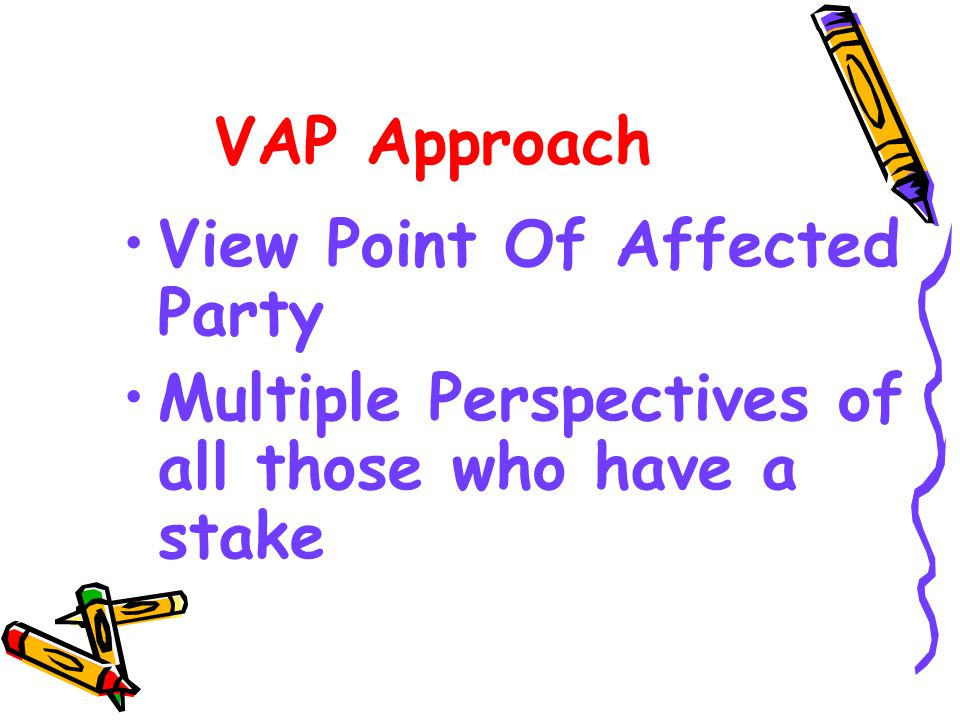VAP Approach View Point Of Affected Party Multiple Perspectives of all those who have a stake