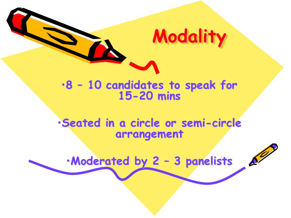 Modality 8 – 10 candidates to speak for 15-20 mins