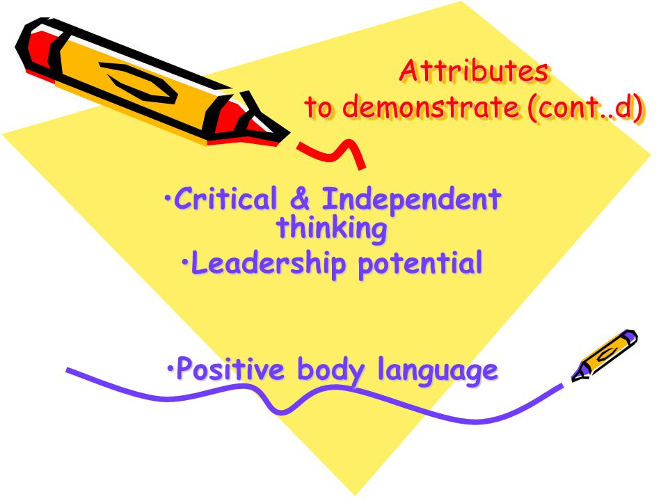 Attributes to demonstrate (cont..d)