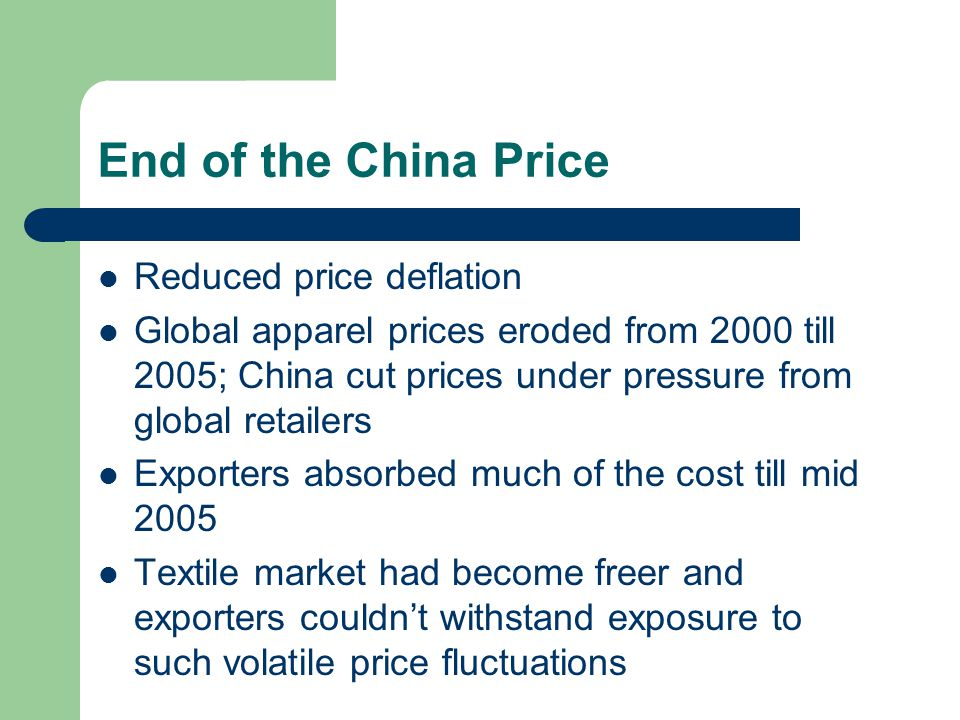 End of the China Price Reduced price deflation