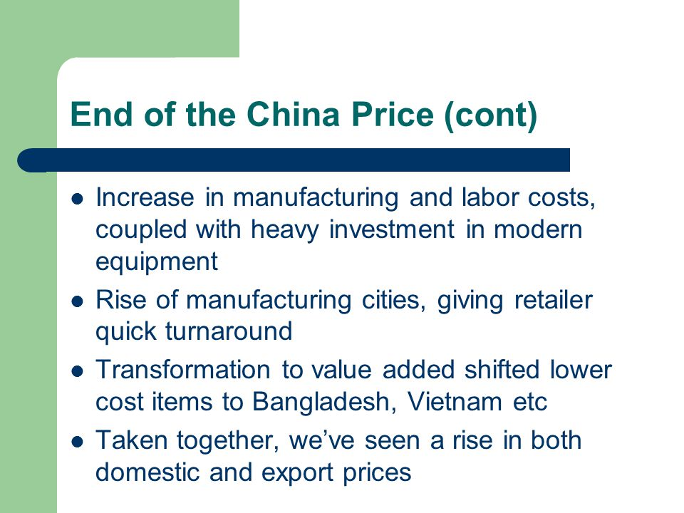 End of the China Price (cont)