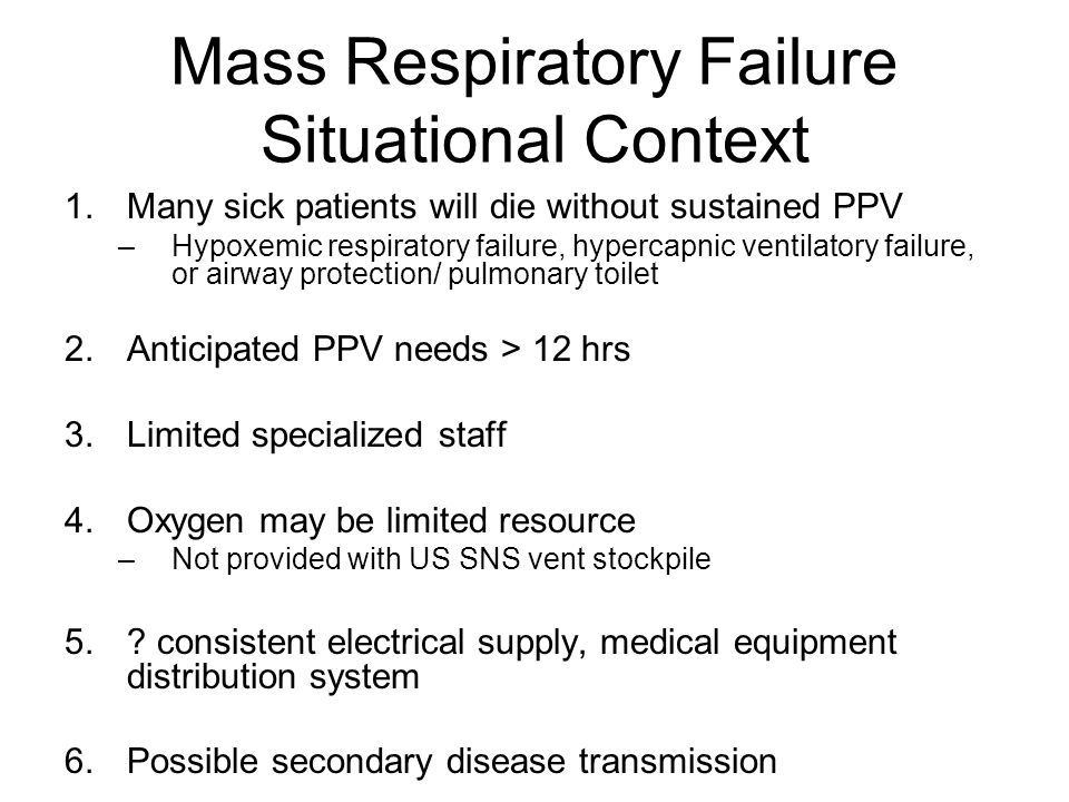 Mass Respiratory Failure Situational Context