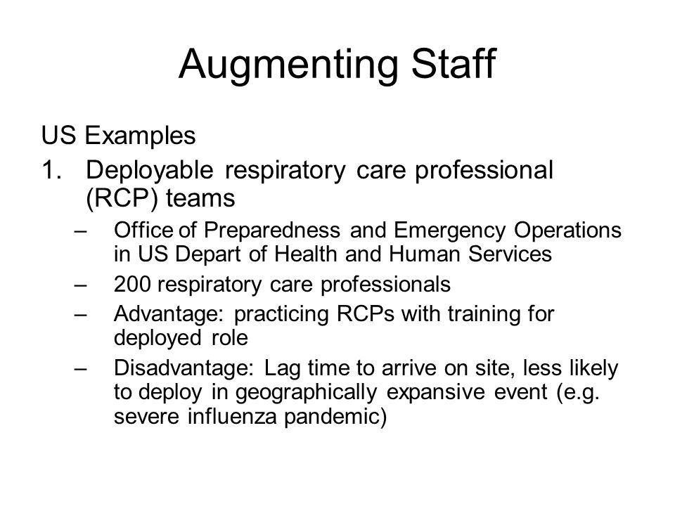 Augmenting Staff US Examples