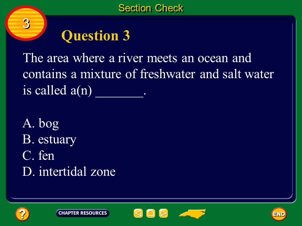 Section Check 3. Question 3. The area where a river meets an ocean and contains a mixture of freshwater and salt water is called a(n) _______.