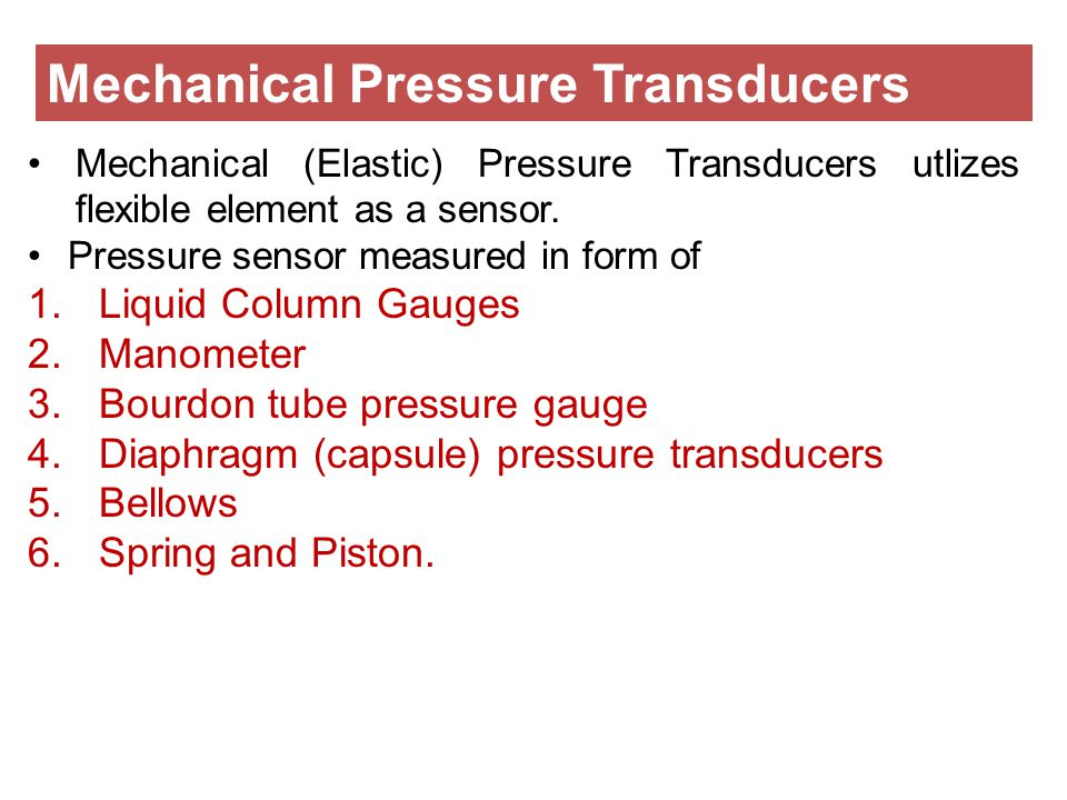 Mechanical Pressure Transducers