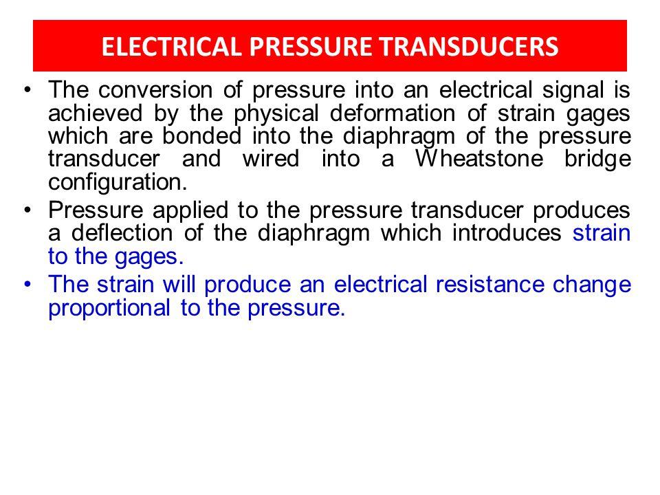 ELECTRICAL PRESSURE TRANSDUCERS