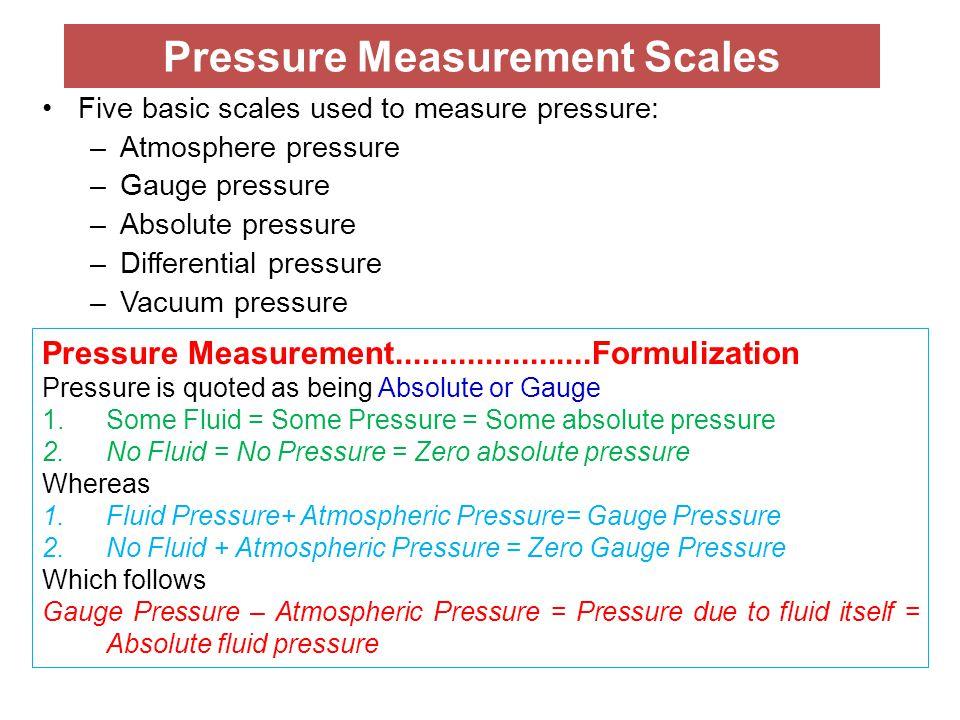 Pressure Measurement Scales