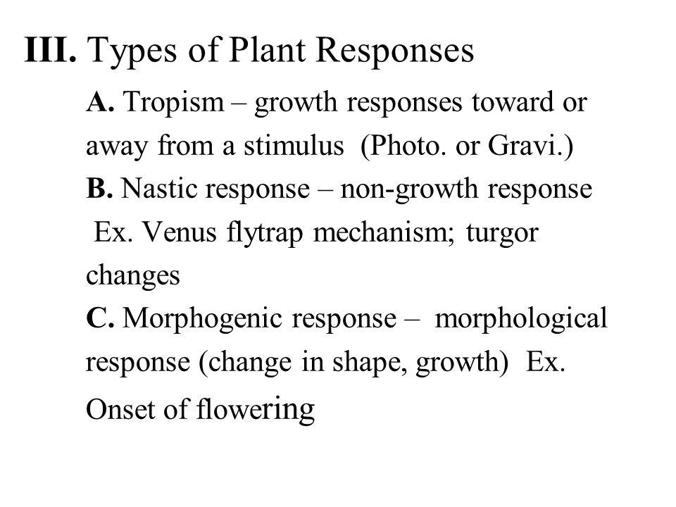 III. Types of Plant Responses