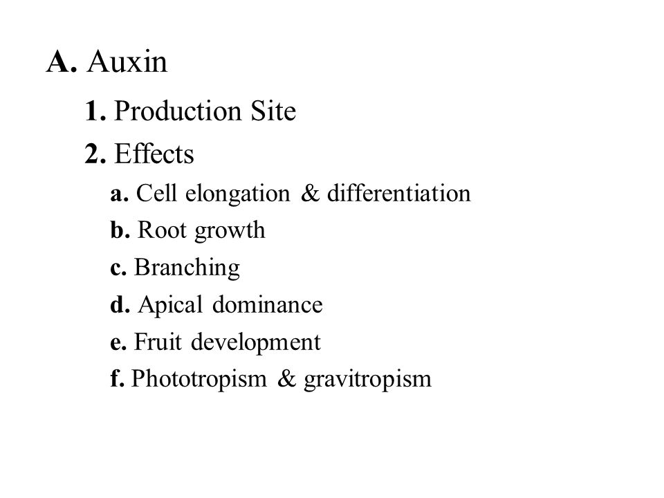 A. Auxin 1. Production Site 2. Effects
