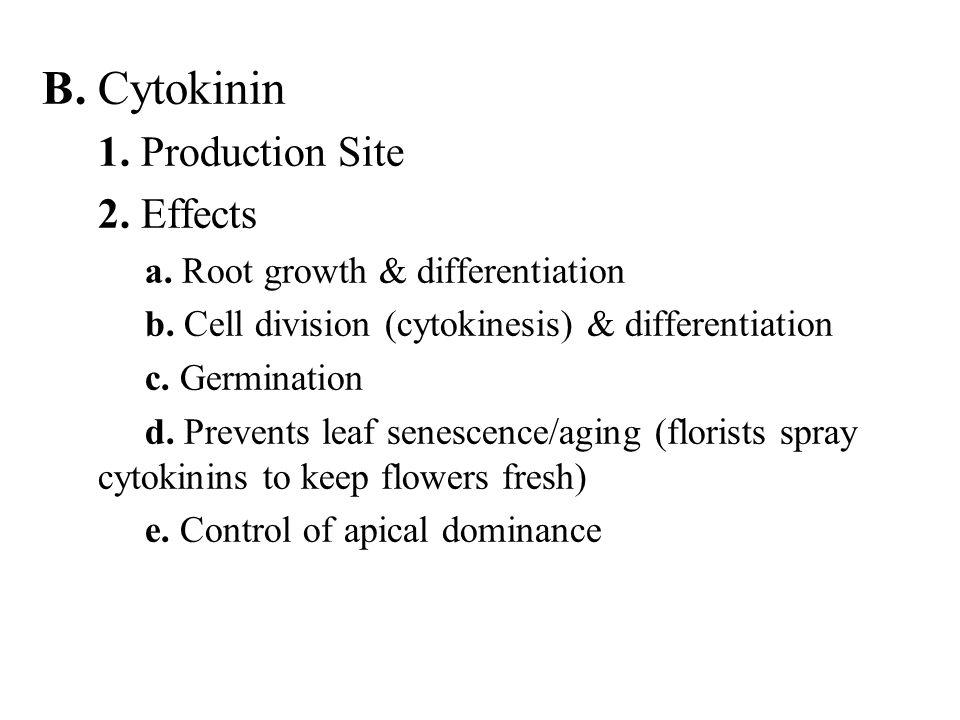 B. Cytokinin 1. Production Site 2. Effects