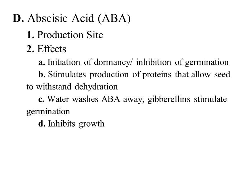 D. Abscisic Acid (ABA) 1. Production Site 2. Effects