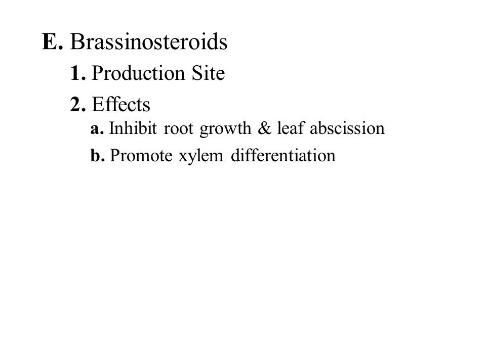 E. Brassinosteroids 1. Production Site 2. Effects
