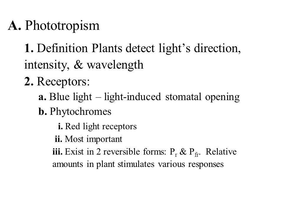 A. Phototropism 1. Definition Plants detect light's direction,