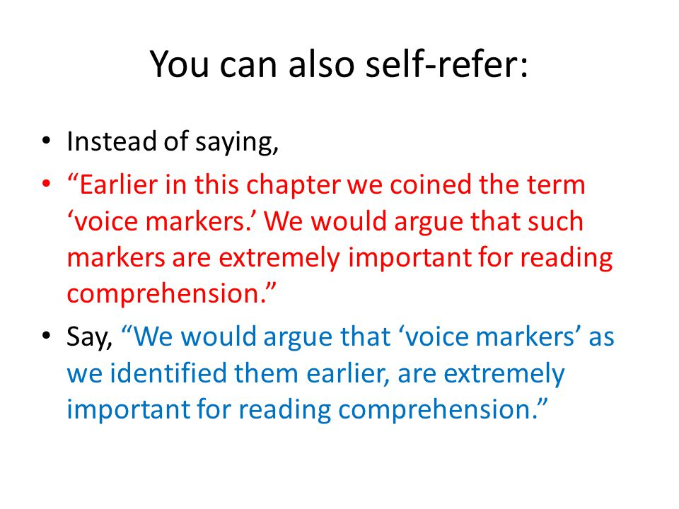You can also self-refer: