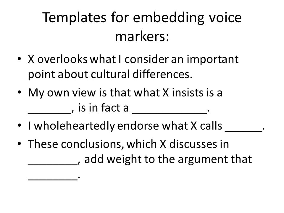 Templates for embedding voice markers: