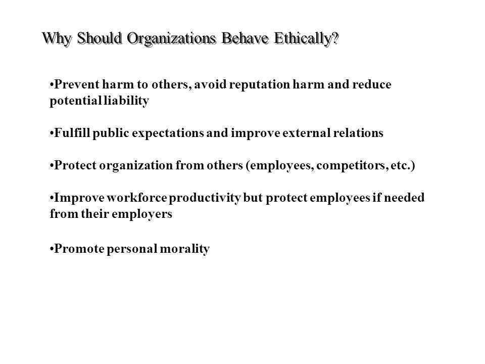 Why Should Organizations Behave Ethically