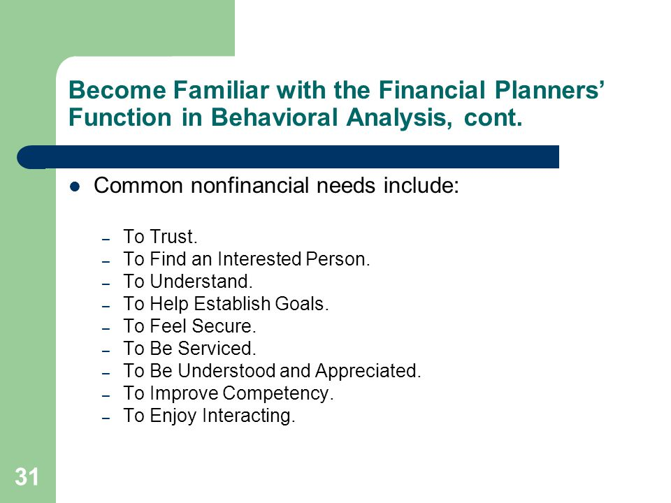 Become Familiar with the Financial Planners' Function in Behavioral Analysis, cont.