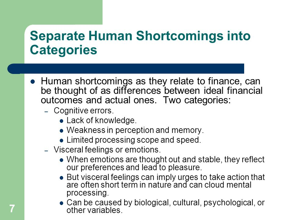 Separate Human Shortcomings into Categories