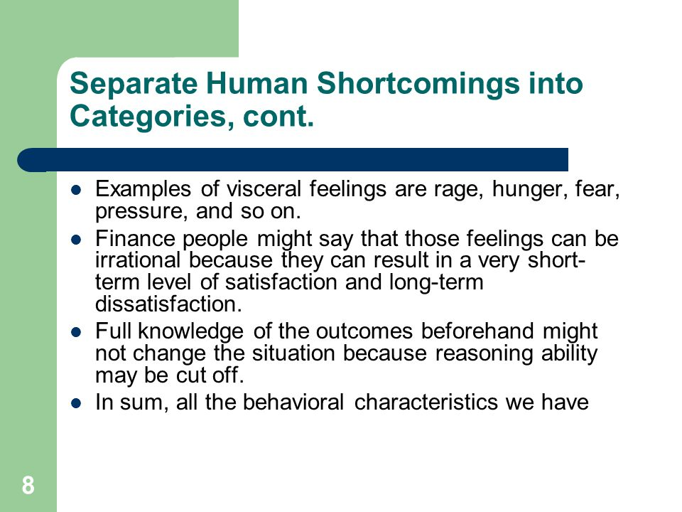 Separate Human Shortcomings into Categories, cont.