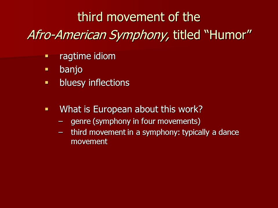 third movement of the Afro-American Symphony, titled Humor