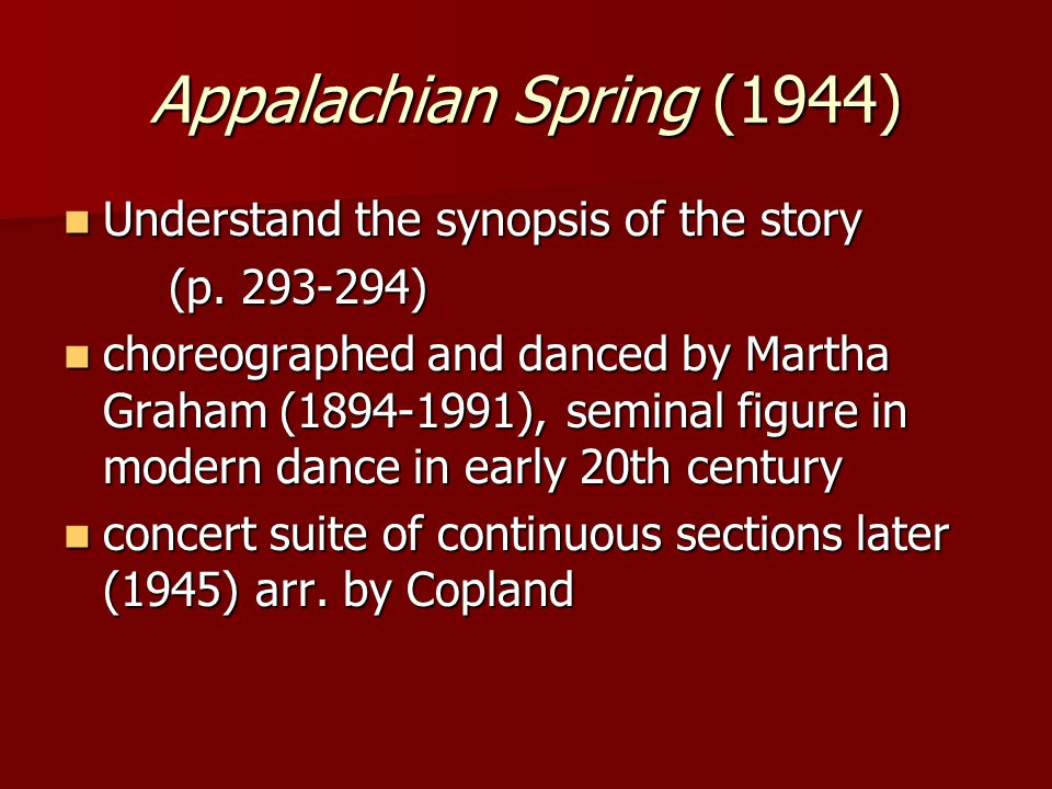 Appalachian Spring (1944) Understand the synopsis of the story