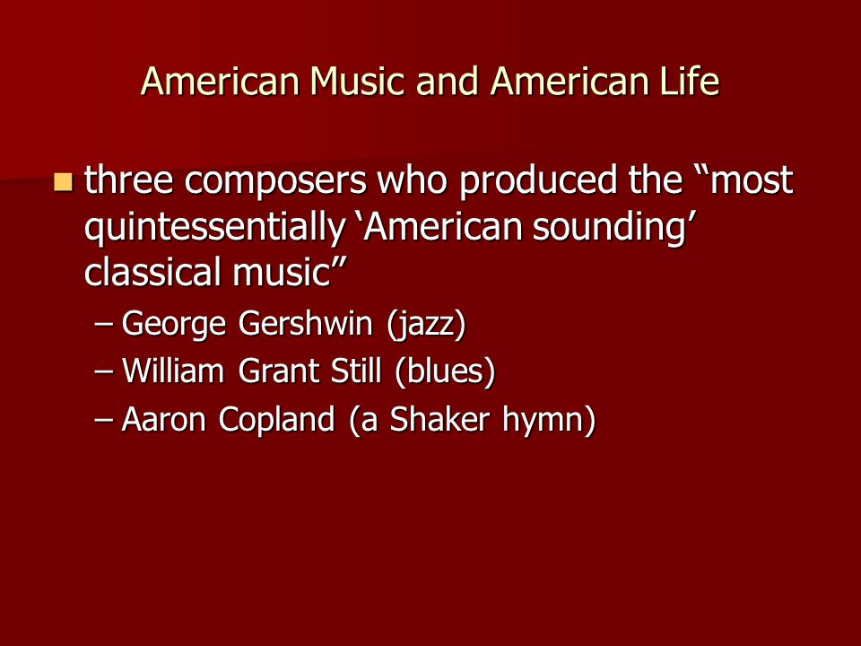 American Music and American Life