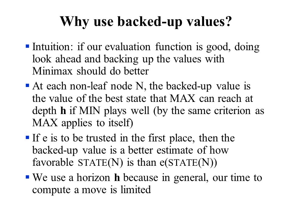 Why use backed-up values