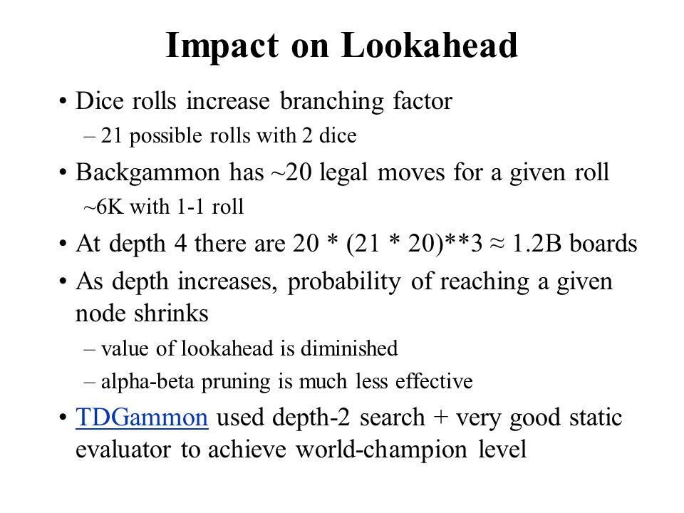 Impact on Lookahead Dice rolls increase branching factor