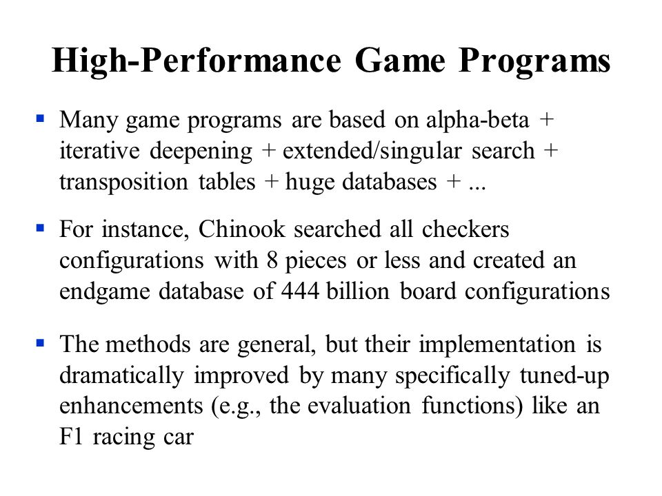 High-Performance Game Programs