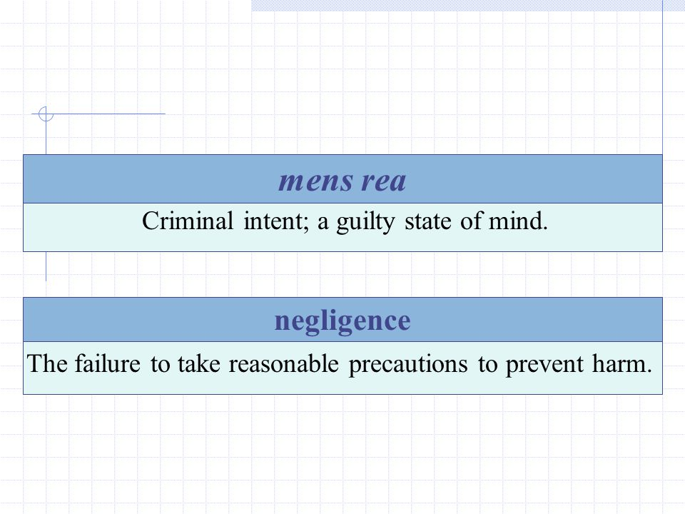 mens rea negligence Criminal intent; a guilty state of mind.
