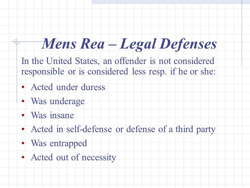 Mens Rea – Legal Defenses