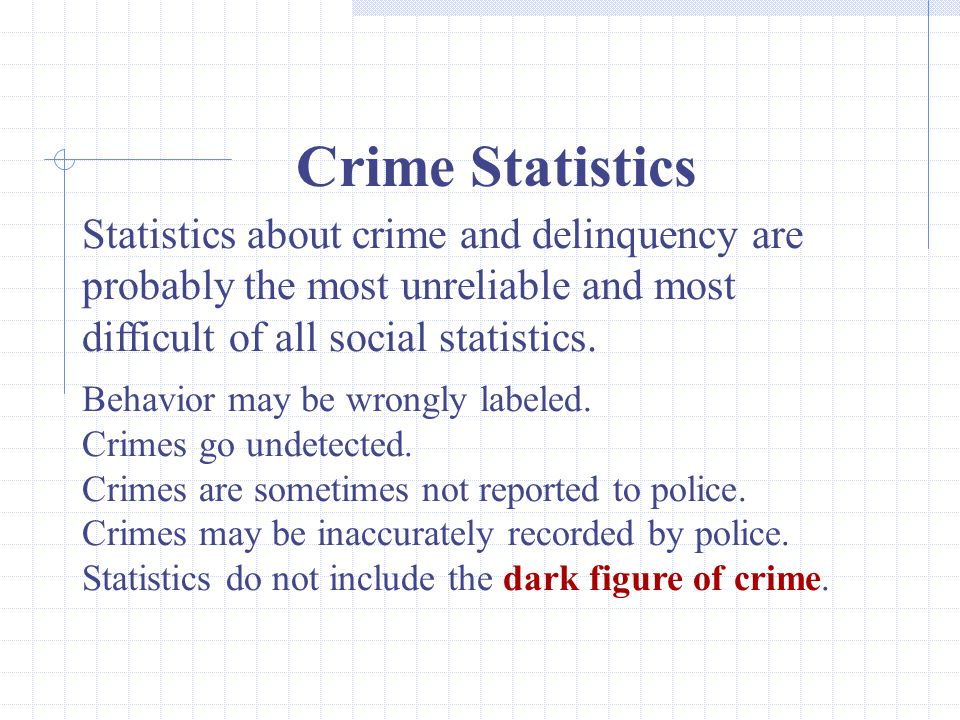 Crime Statistics Statistics about crime and delinquency are probably the most unreliable and most difficult of all social statistics.