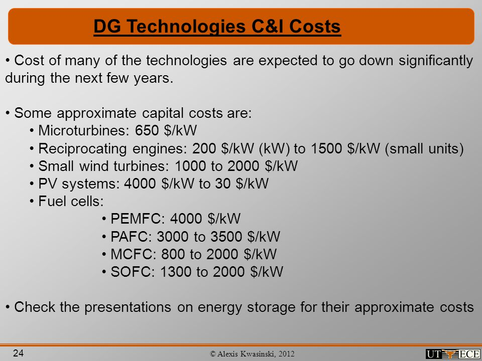 DG Technologies C&I Costs