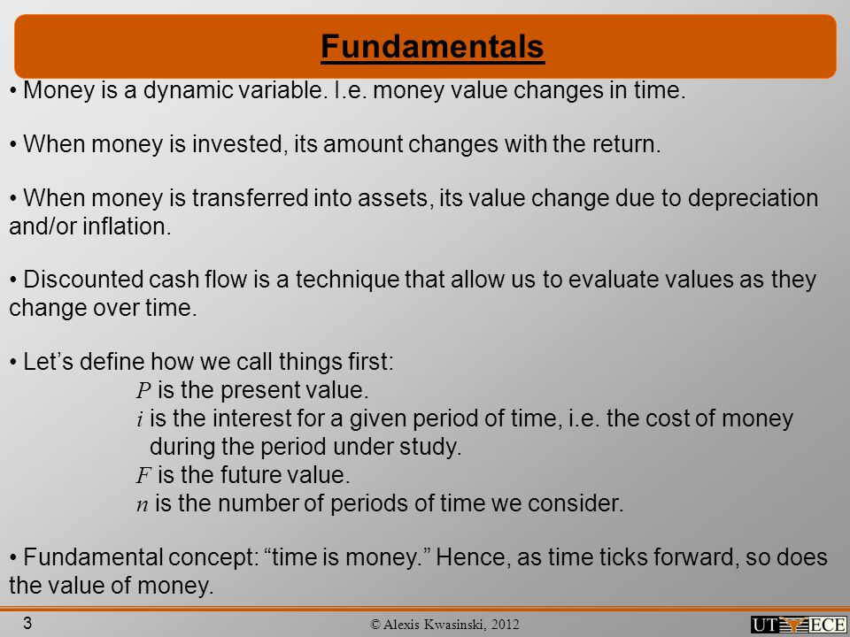 Fundamentals Money is a dynamic variable. I.e. money value changes in time. When money is invested, its amount changes with the return.