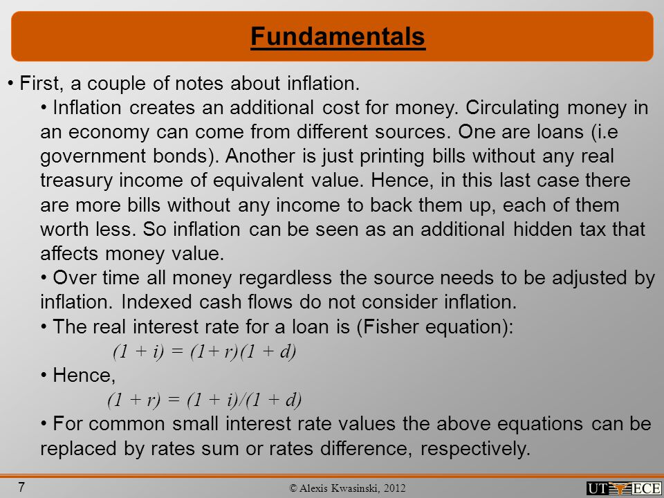 Fundamentals First, a couple of notes about inflation.