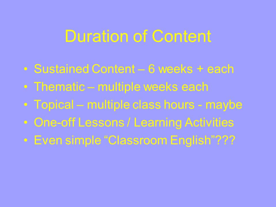 Duration of Content Sustained Content – 6 weeks + each