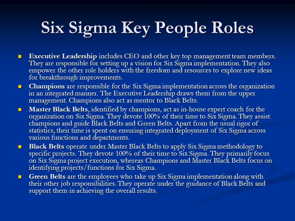 Six Sigma Key People Roles